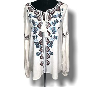PARKER BOHO EMBROIDERED PEASANT BLOUSE SZ S